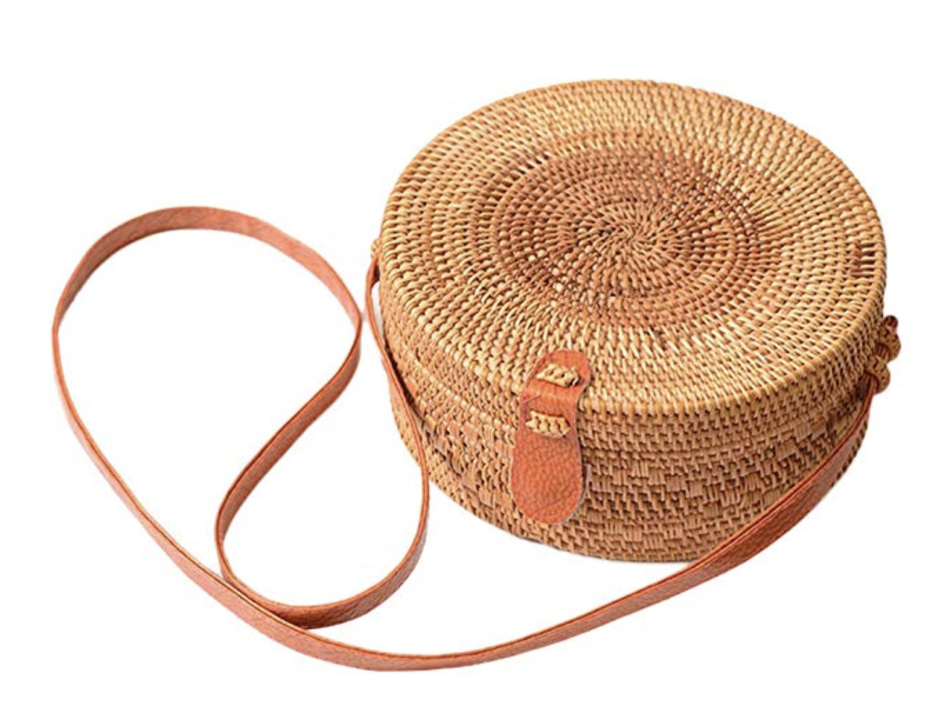 Rattan round bag with a long stripe