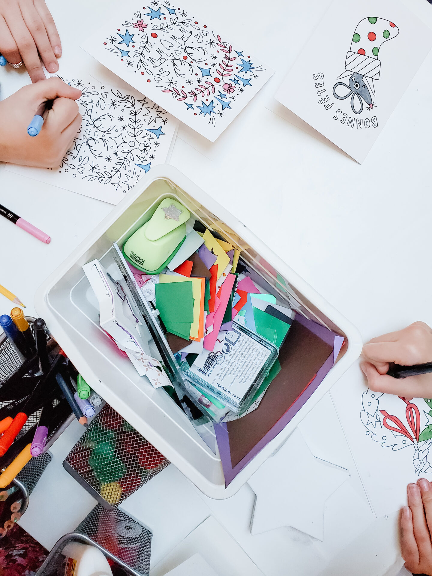 Christmas cards colouring DIY