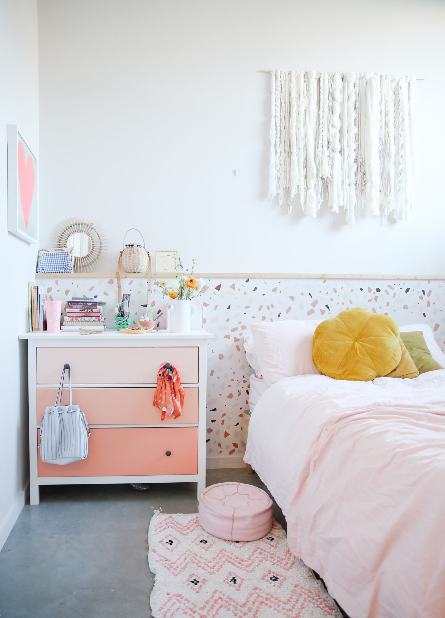 Pink Terrazzo Bedroom Makeover