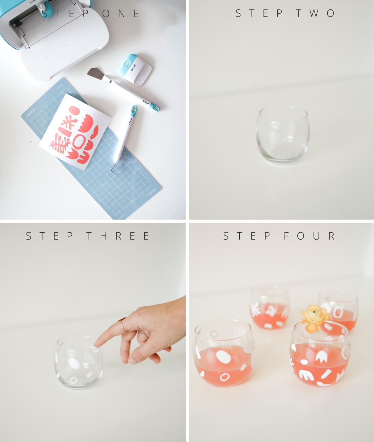 Step by Step DIY matisse cocktail glasses