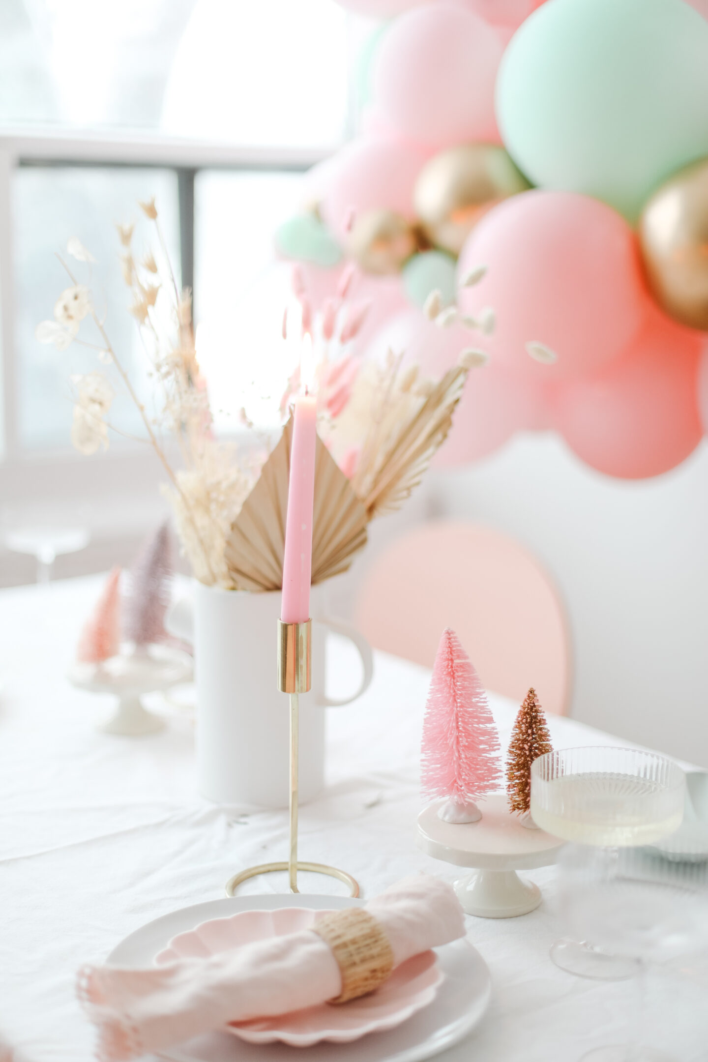 Pink tablescape with dried flowers