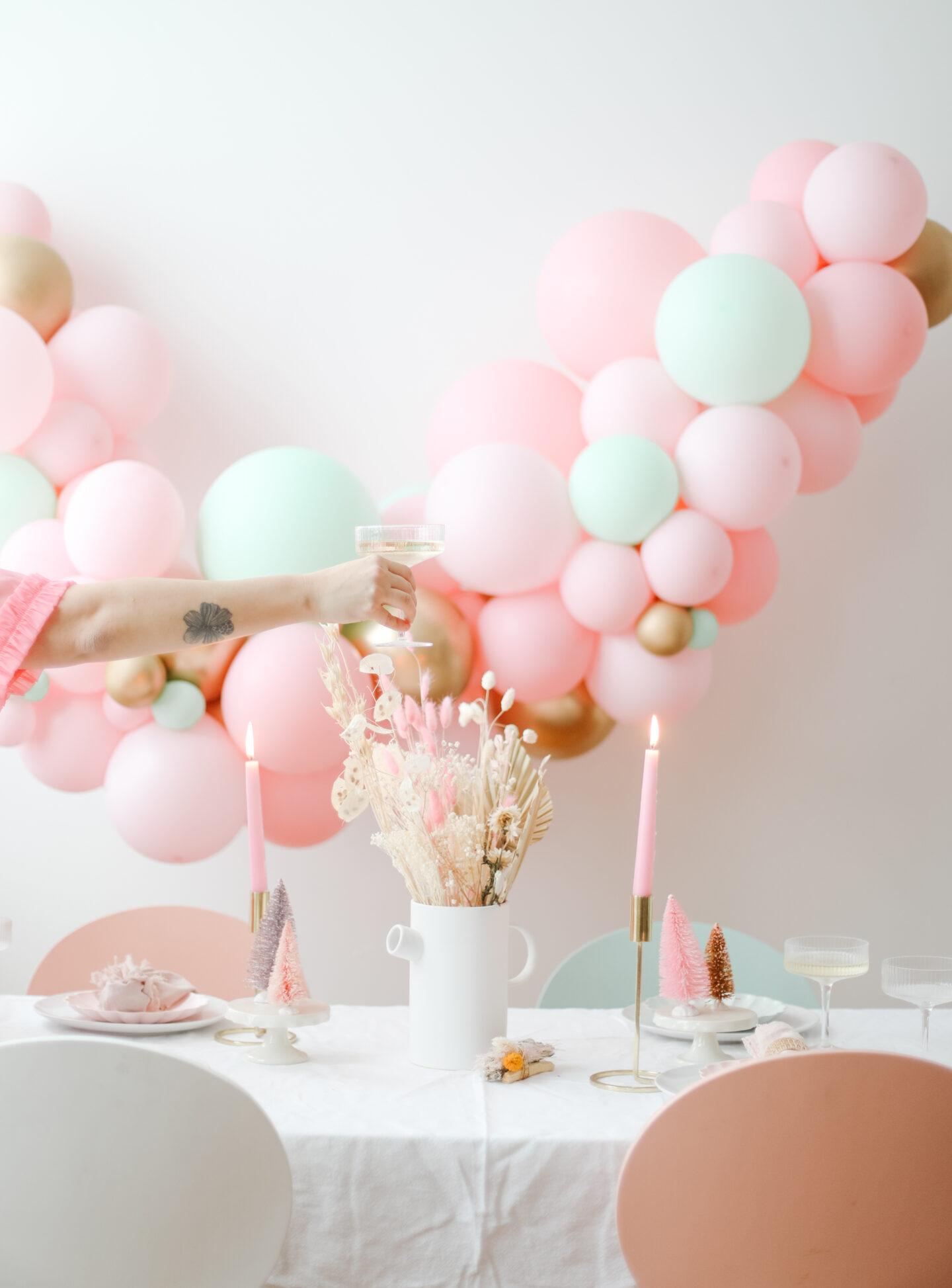 Christmas Decor with a pink ballon garland