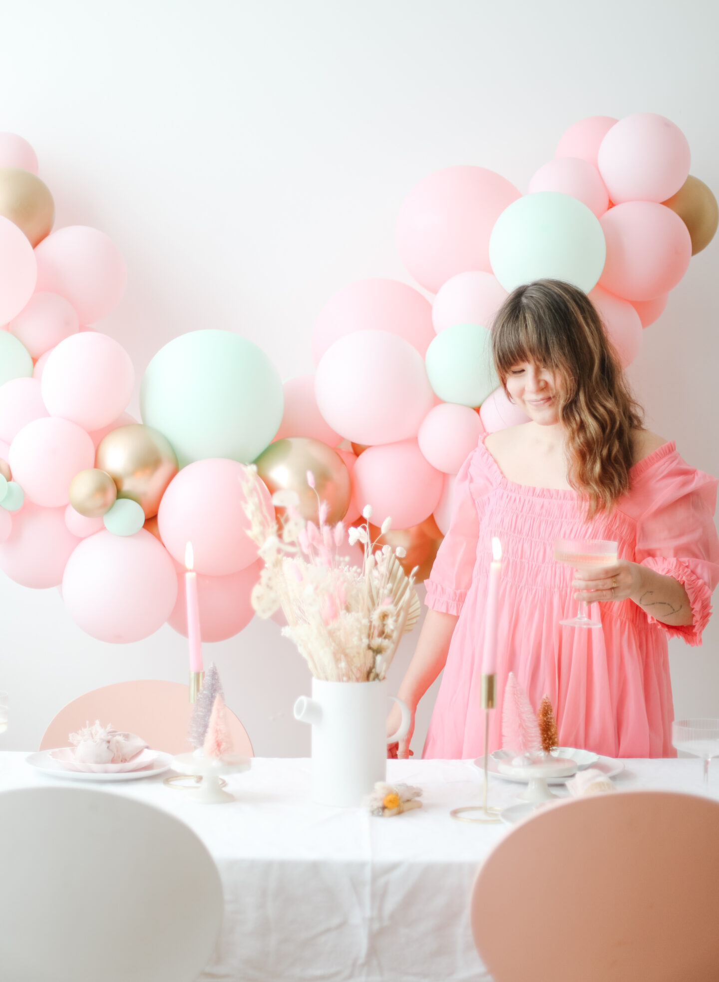 A pink tablescape for christmas