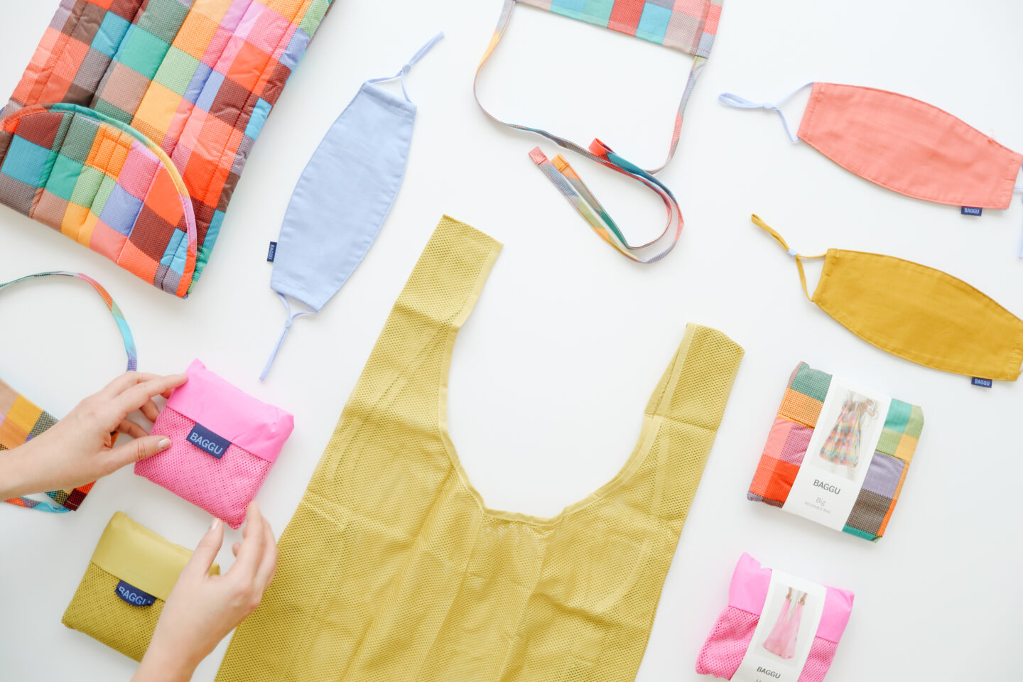Baggu colorful bags and fabric masks collection