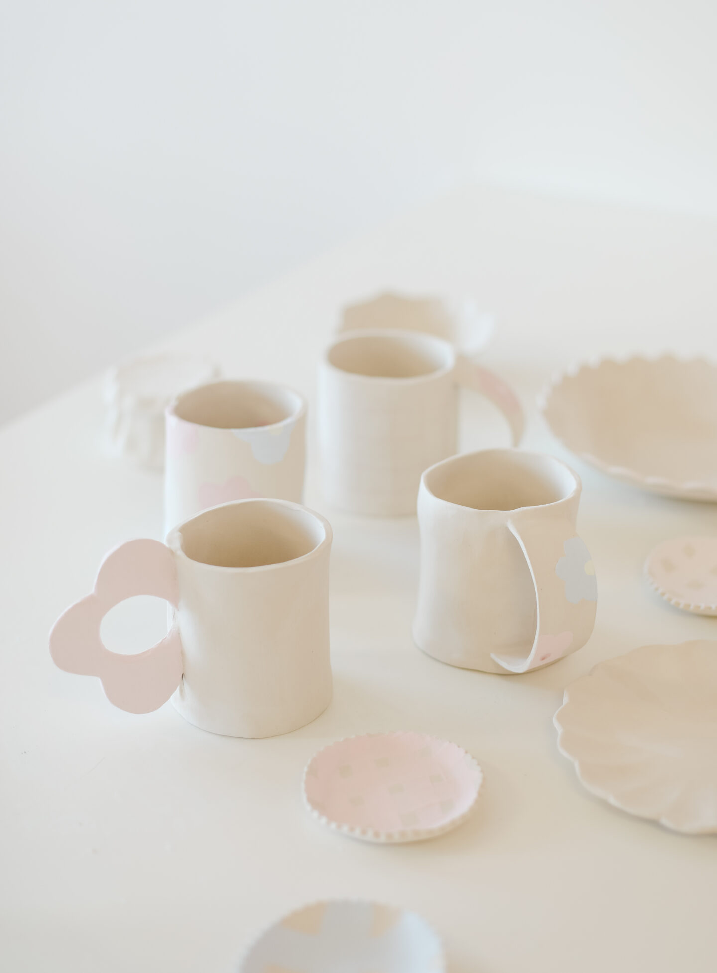 Pottery in pastel colours