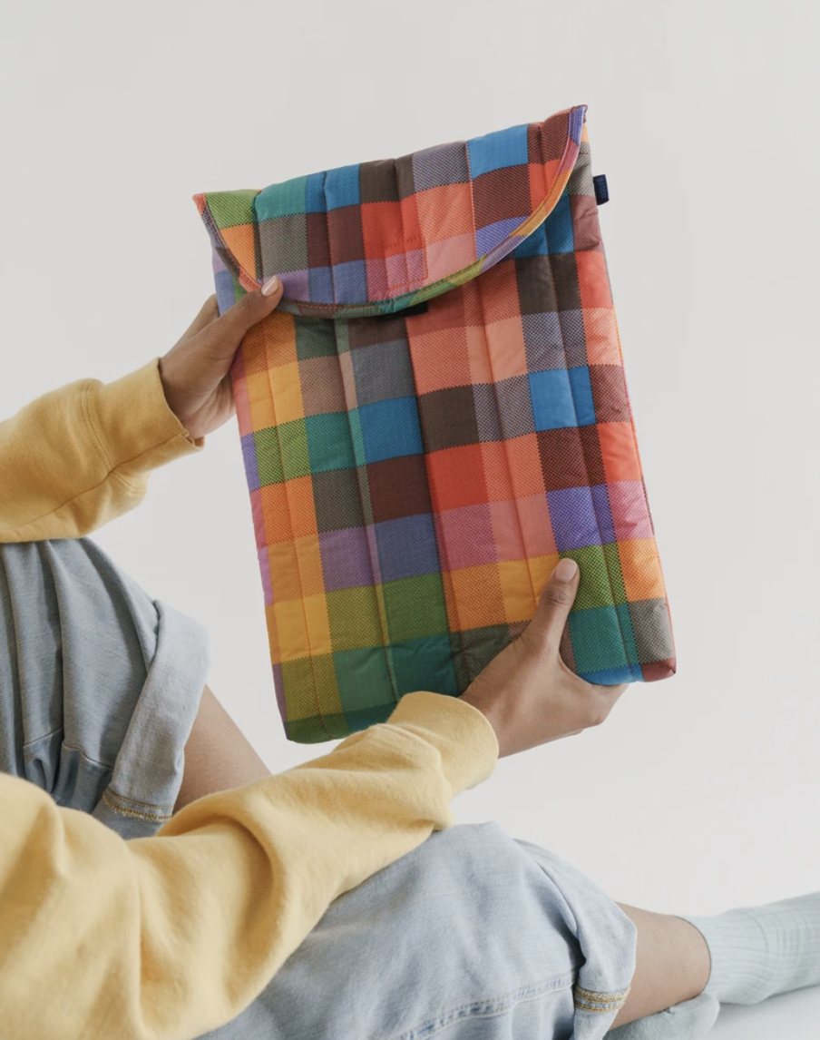 Colourful gingham laptop sleeve