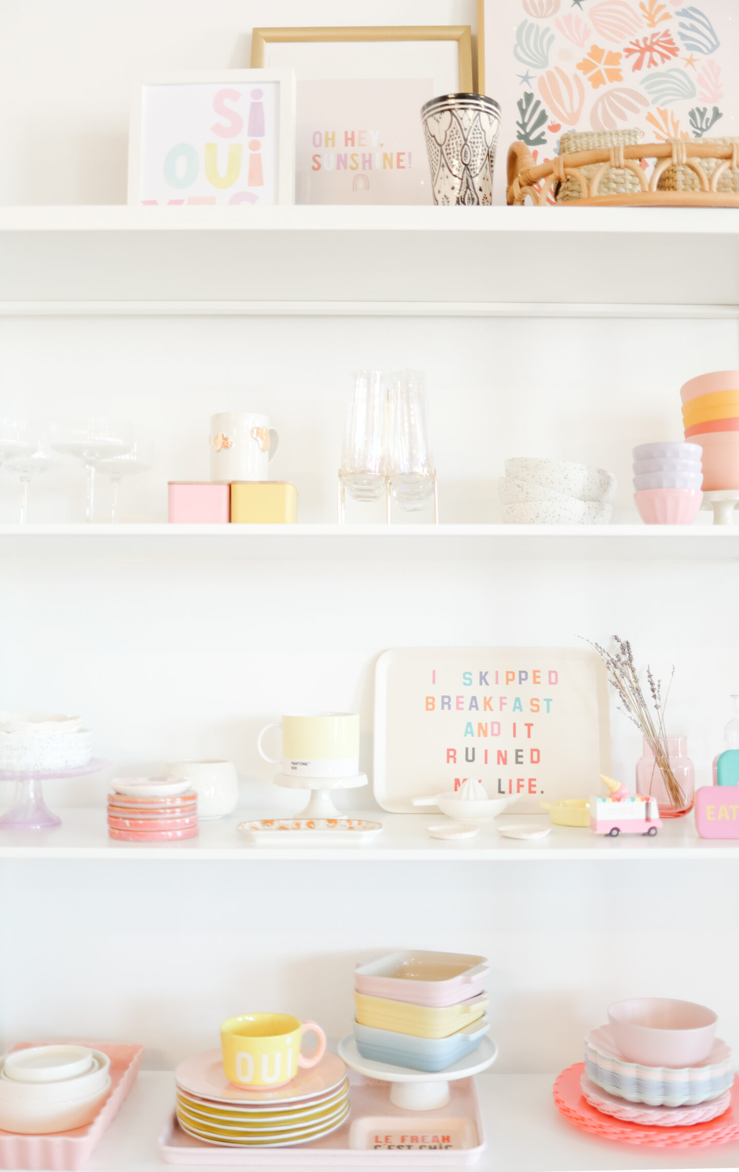 colourful office shelve decor