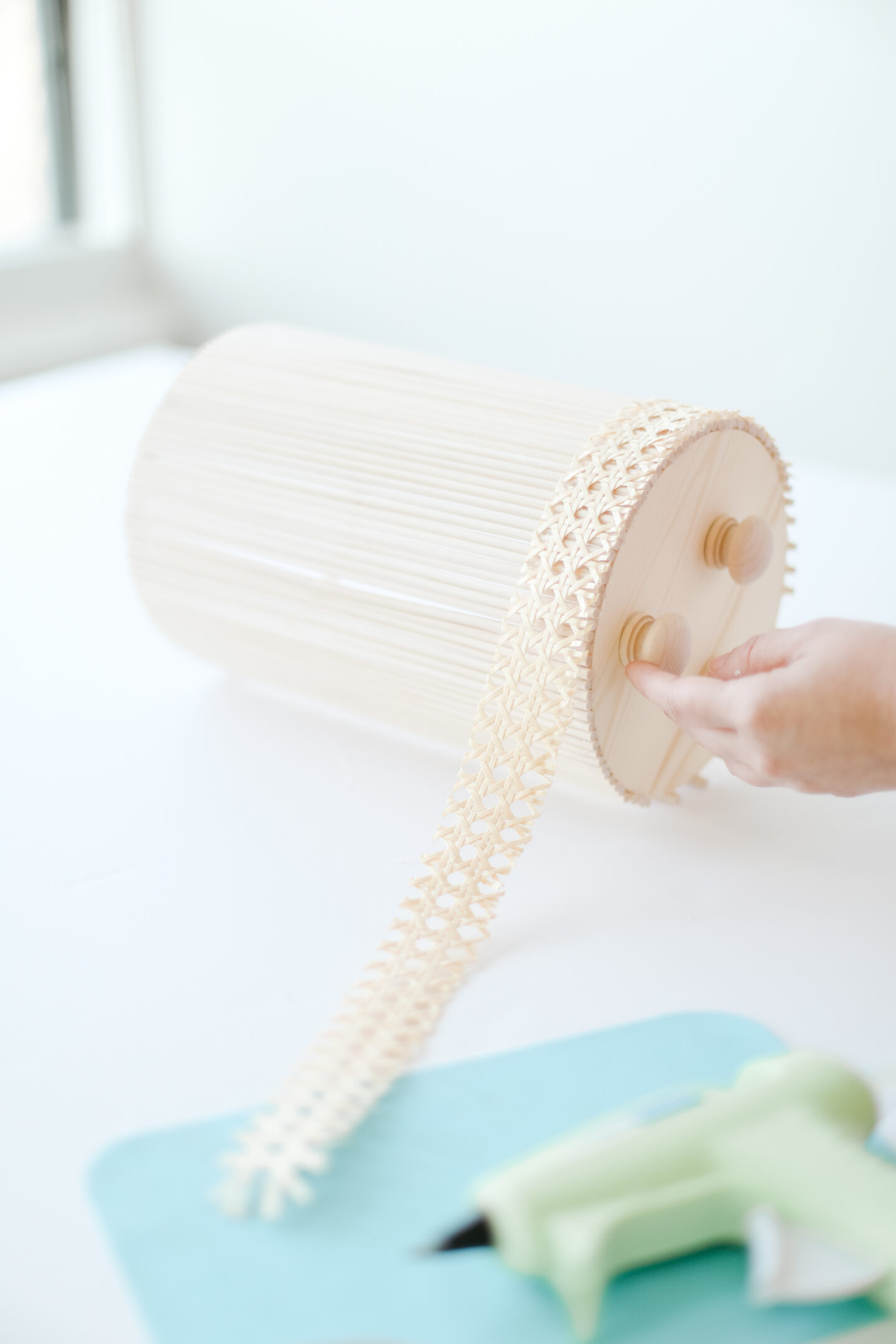 Adding cane to a scandi floral vase DIY