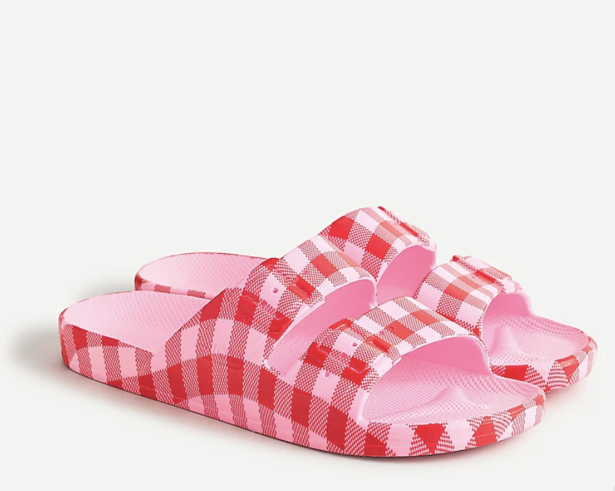 Jcrew Pink and Red Gingham Sandals