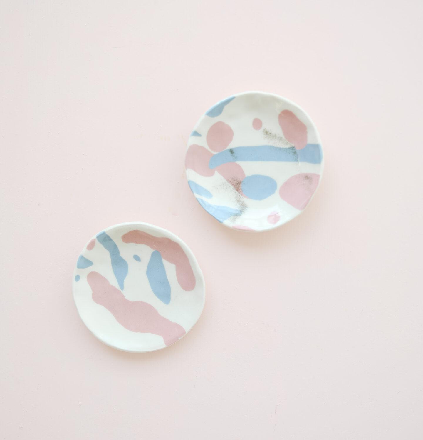 Nerikomi pink and blue plates