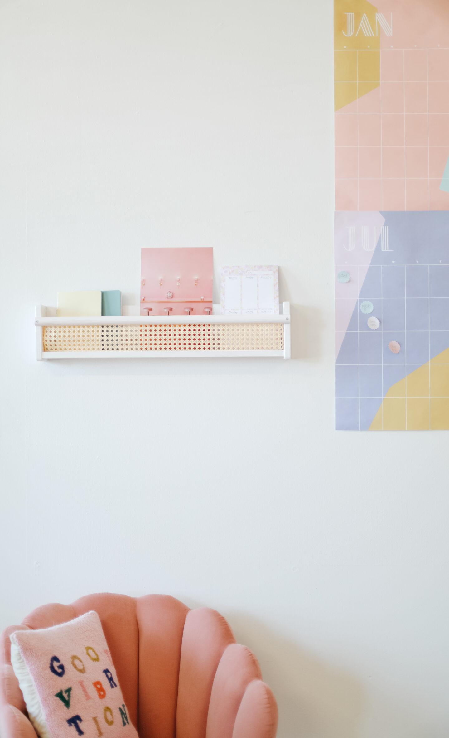 Cane shelf from an old IKEA shelf DIY