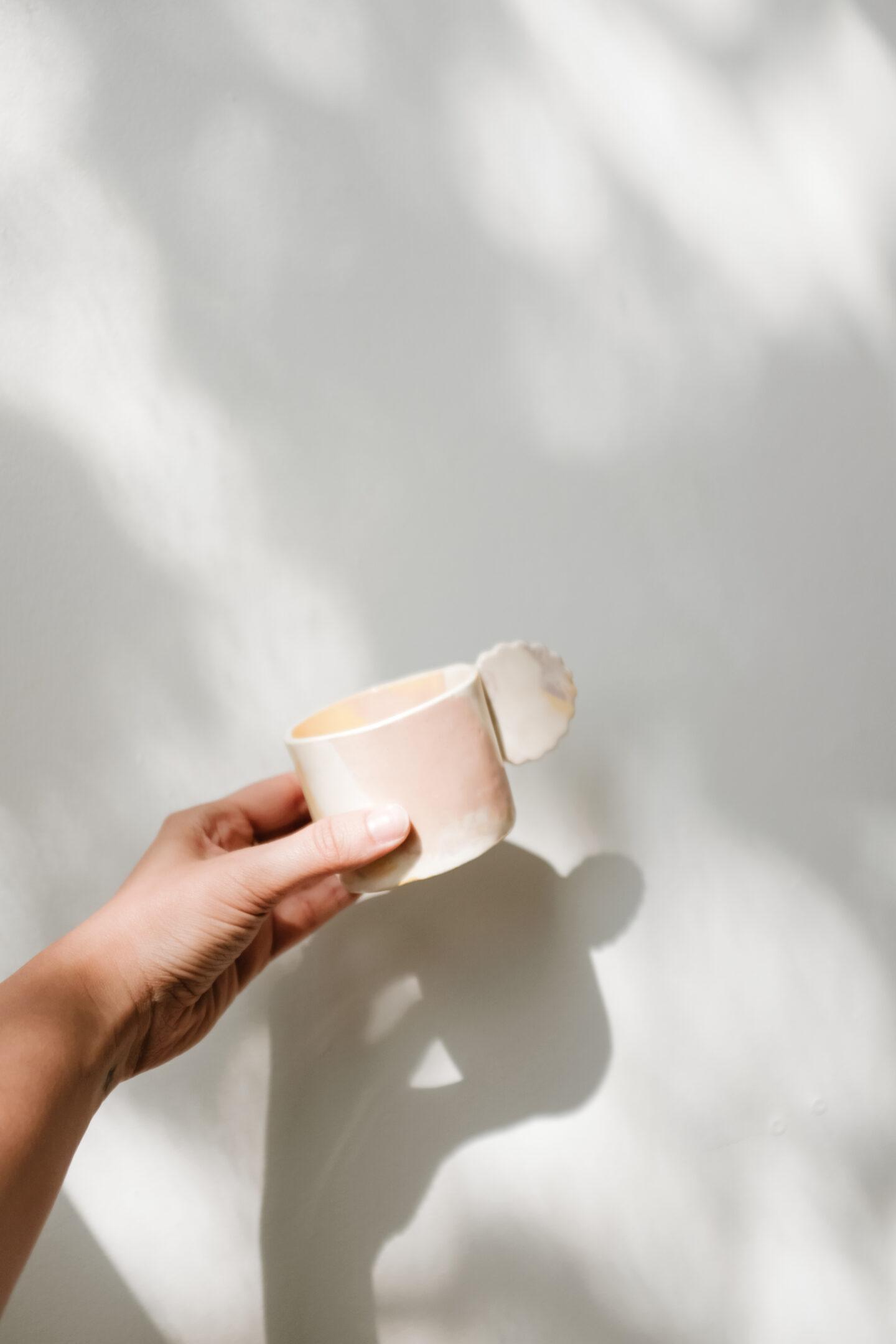 Watercolor brush stroke porcelain mug