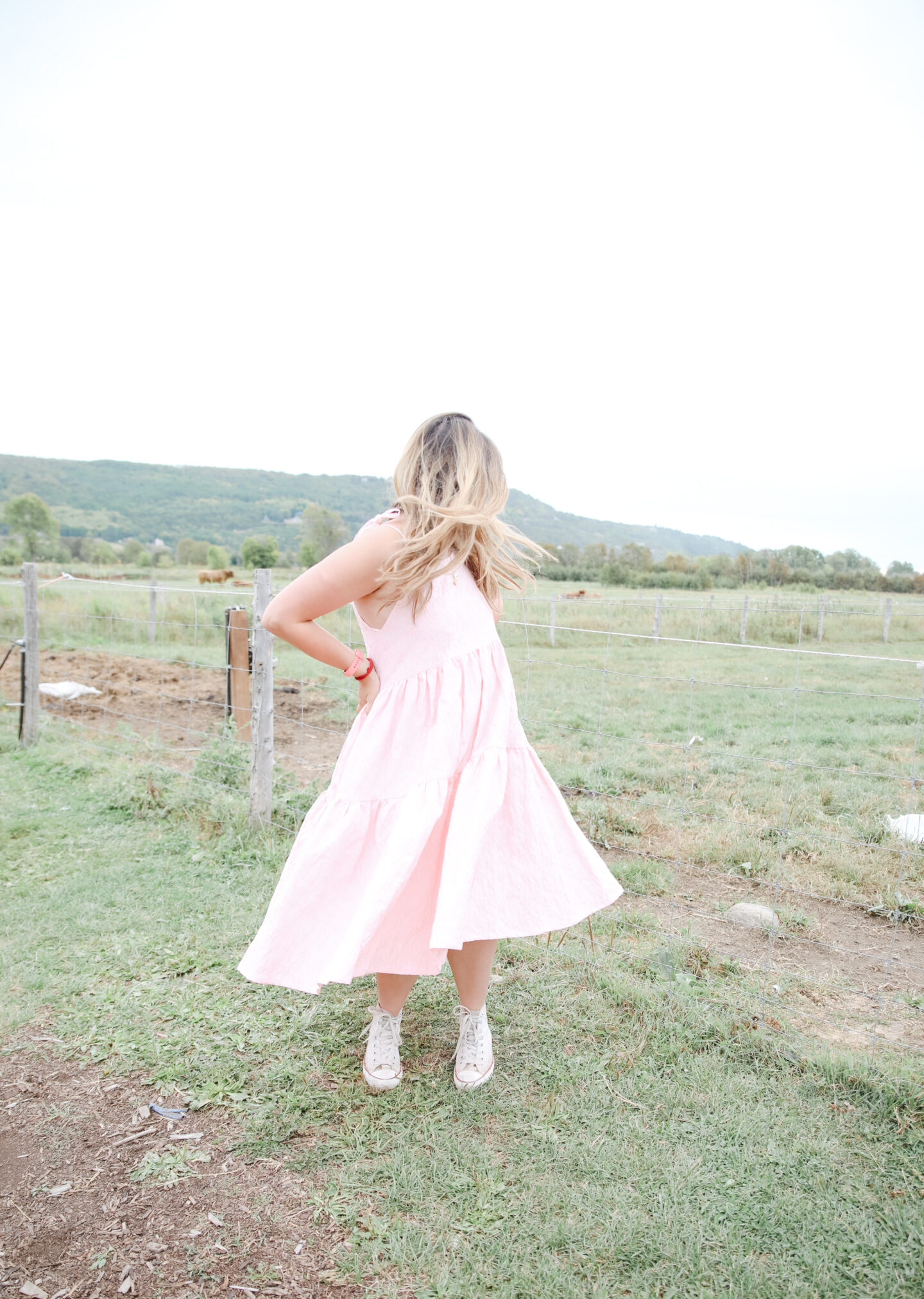 Pink Dress with Converse Style