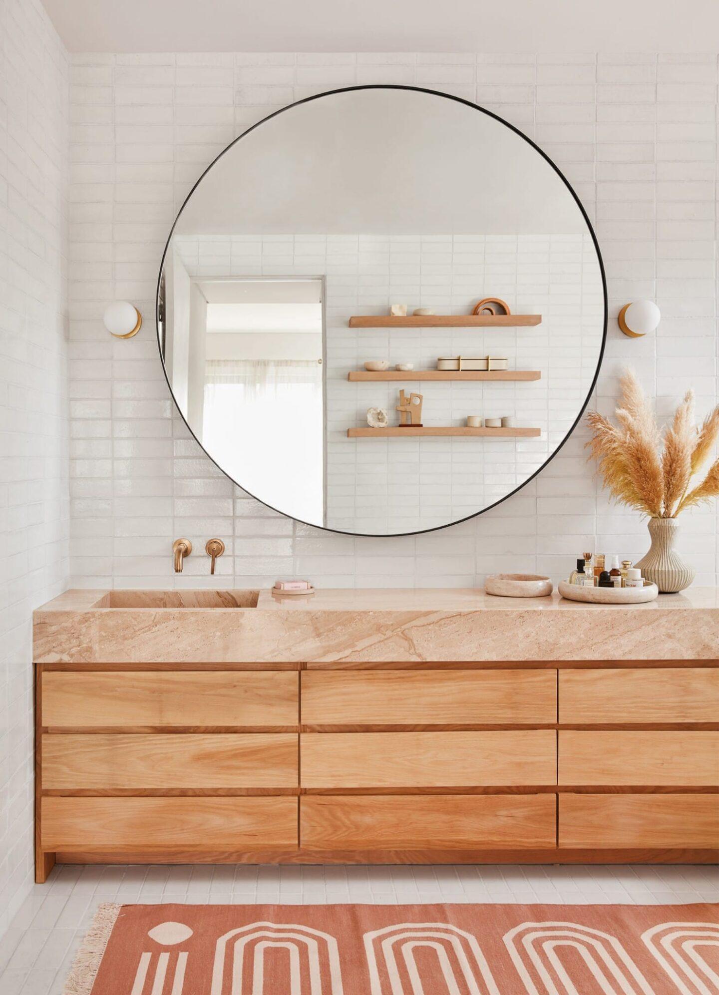 bathroom design with pink quartz
